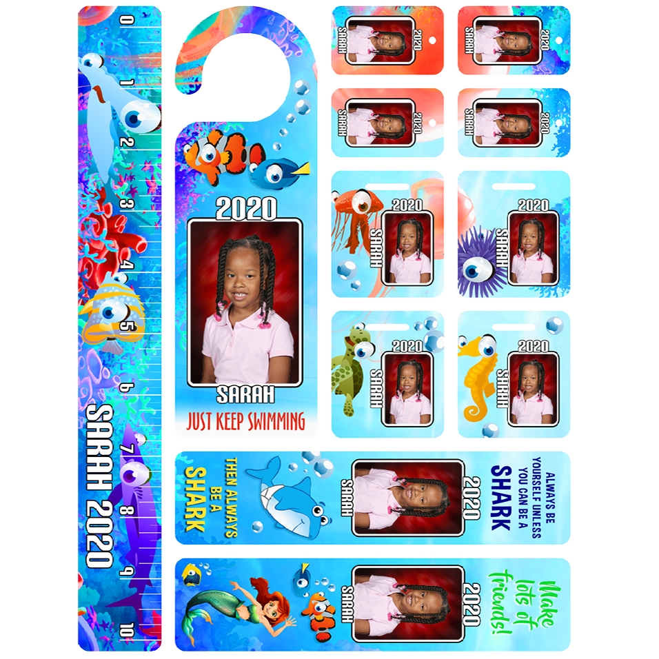 Fun Packs include laminated bag tags, ruler, key fobs, bookmarks, doorknob hanger with student name and year