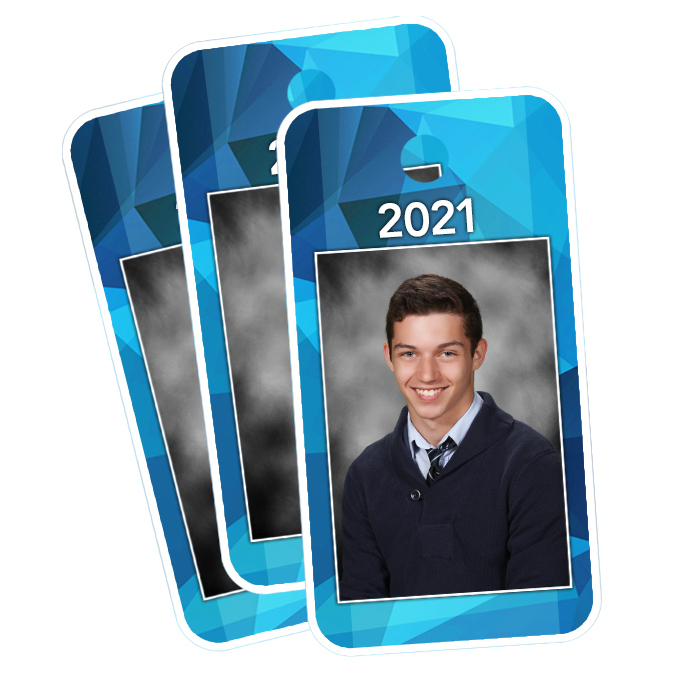 Set of 3 Key Fobs with student image and year
