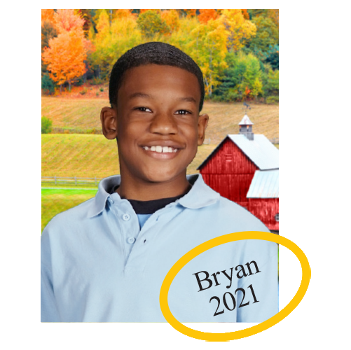 Student's first name and year will be printed in the corner of all portraits in your package